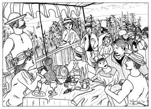 Coloriage adulte dessin coloriage inspirée du tableau des canotiers par valentin