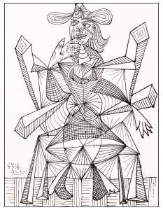 Coloriage adulte dessin noir blanc picasso de 1938