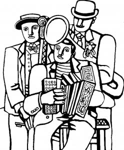 Coloriage adulte fernand leger les trois musiciens