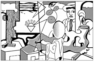 coloriage-adulte-roy-lichtenstein-icones-americaines free to print