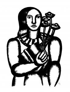 Coloriage femme au bouquet