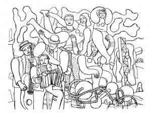 Coloriage fernand leger acrobates et musiciens 1938
