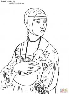 Coloriage leonard de vinci la dame a l hermine