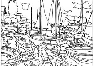 Paul Monet : Bateaux sur Le Quai du Petit Gennevilliers