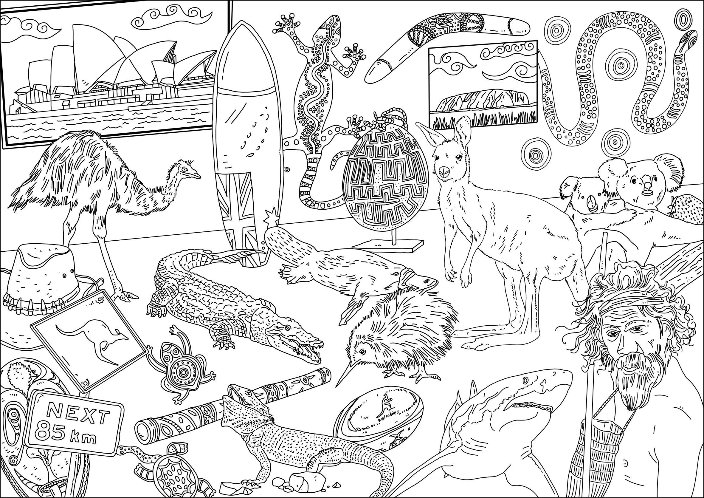 Différents animaux et symboles de l'Australie