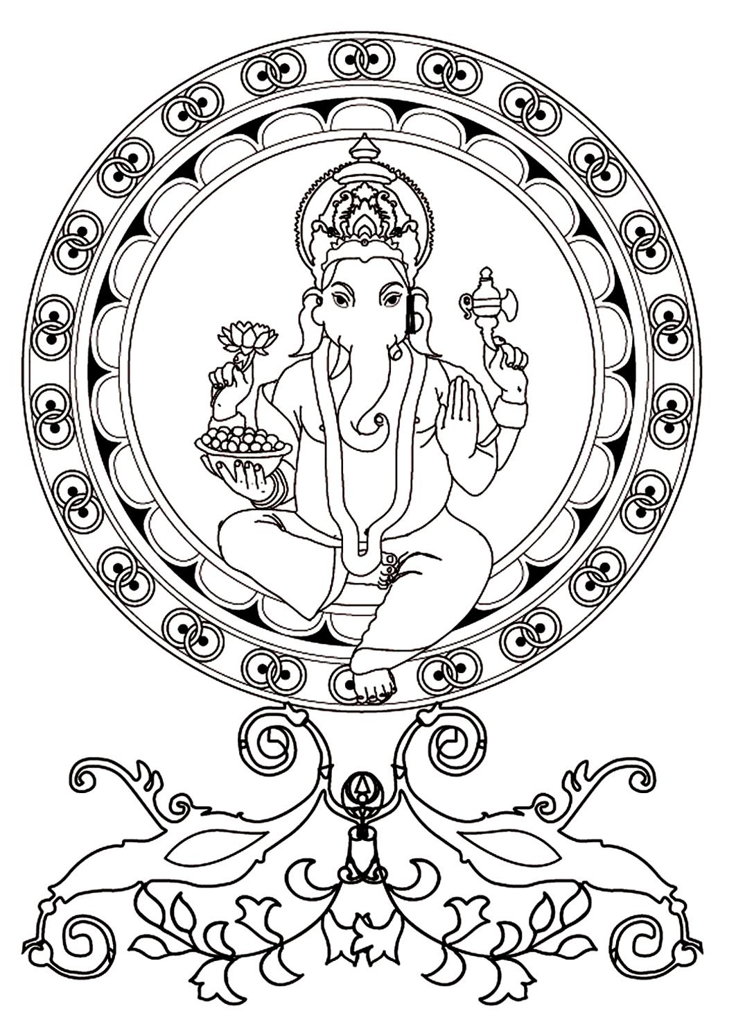 La divinité hindoue Ganesh à colorier : Dieu de la sagesse, de l'intelligence et de la connaissance. Représenté avec quatre bras et une tête d'éléphant