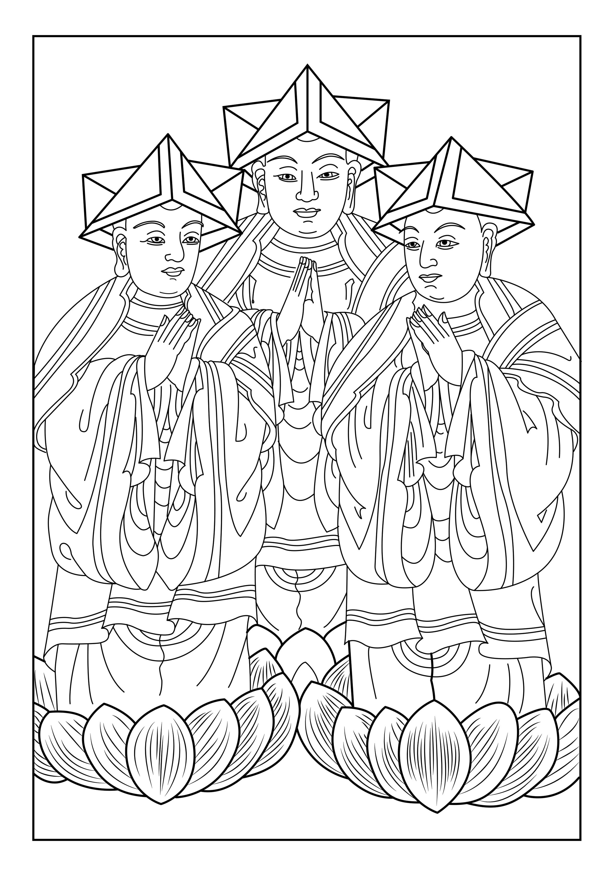 Voici un coloriage mettant en avant trois hommes indiens