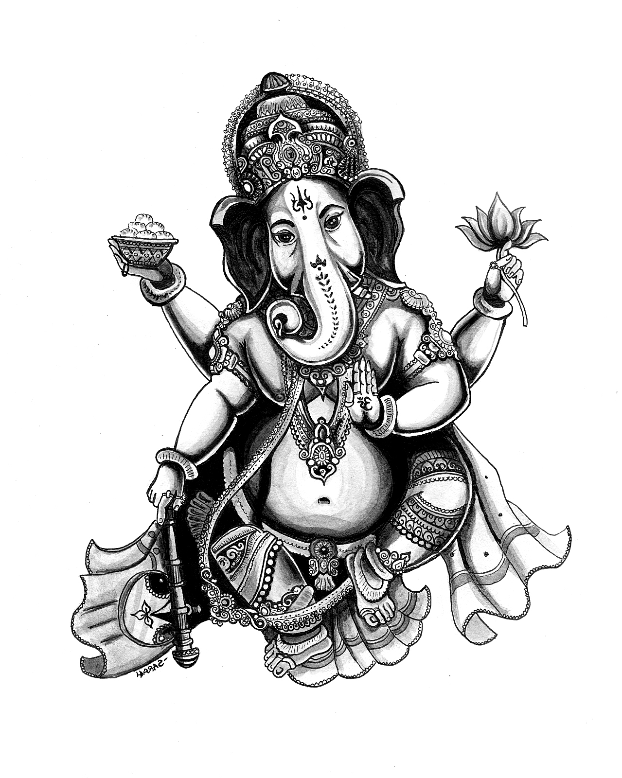 Coloriage A Imprimer Elephant Indien.Inde Ganesha Inde Bollywood Coloriages Difficiles Pour Adultes