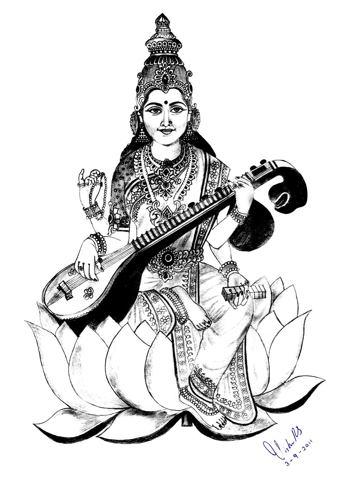 Saraswati à imprimer et colorier, avec énormément de petits détails au niveau des vêtements et de la couronne