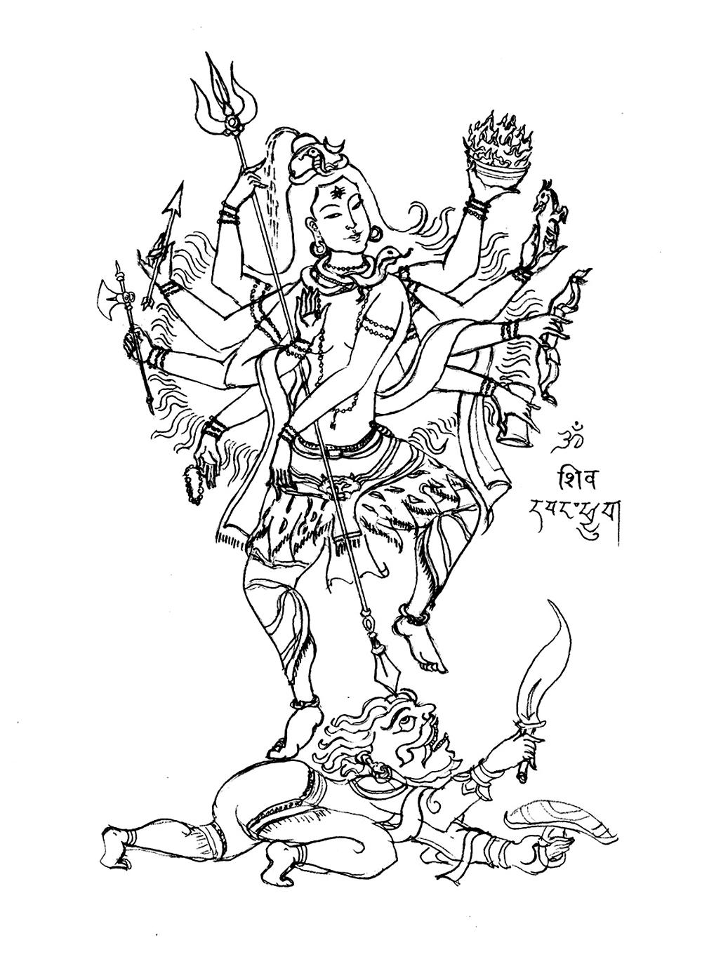 Le Dieu Shiva, représenté avec 8 bras et un trident, qui concentre les pouvoirs de la trimûrti : création, perpétuation et destruction de l'univers