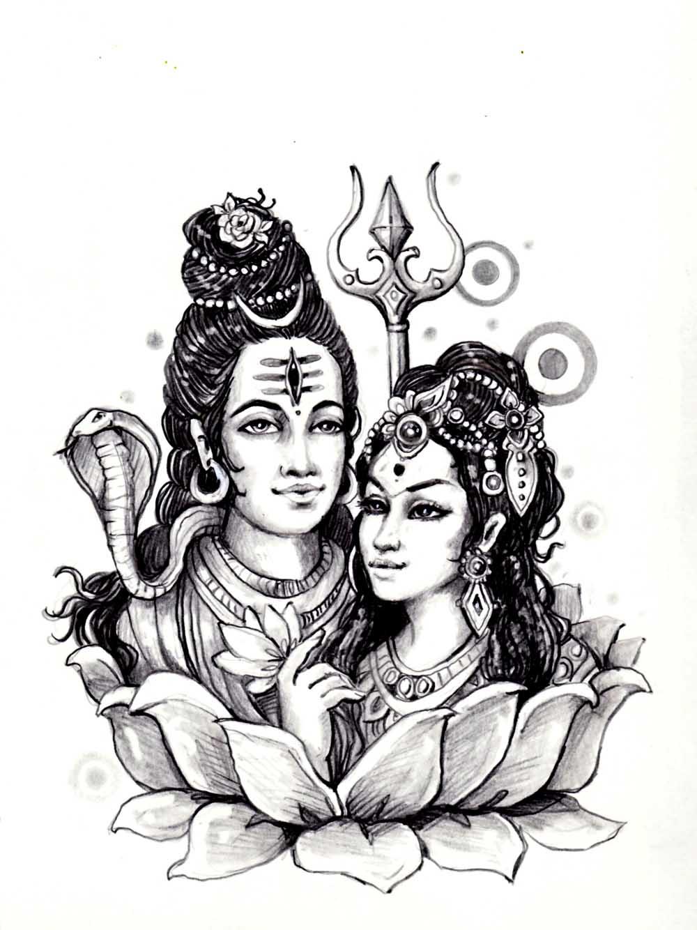 Coloriage de Sati, éprise de Shiva dans la mythologie Hindoue. Bustes dans fleur de lotus, style magnifique pour un coloriage plein de couleurs !