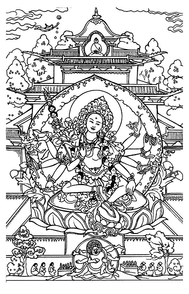 Magnifique coloriage de Shiva, qui dans la mythologie Hindoue est le Dieu principal, dont les rôles sont liés à la création, la préservation, la destruction, la dissimulation et la révélation de l'univers