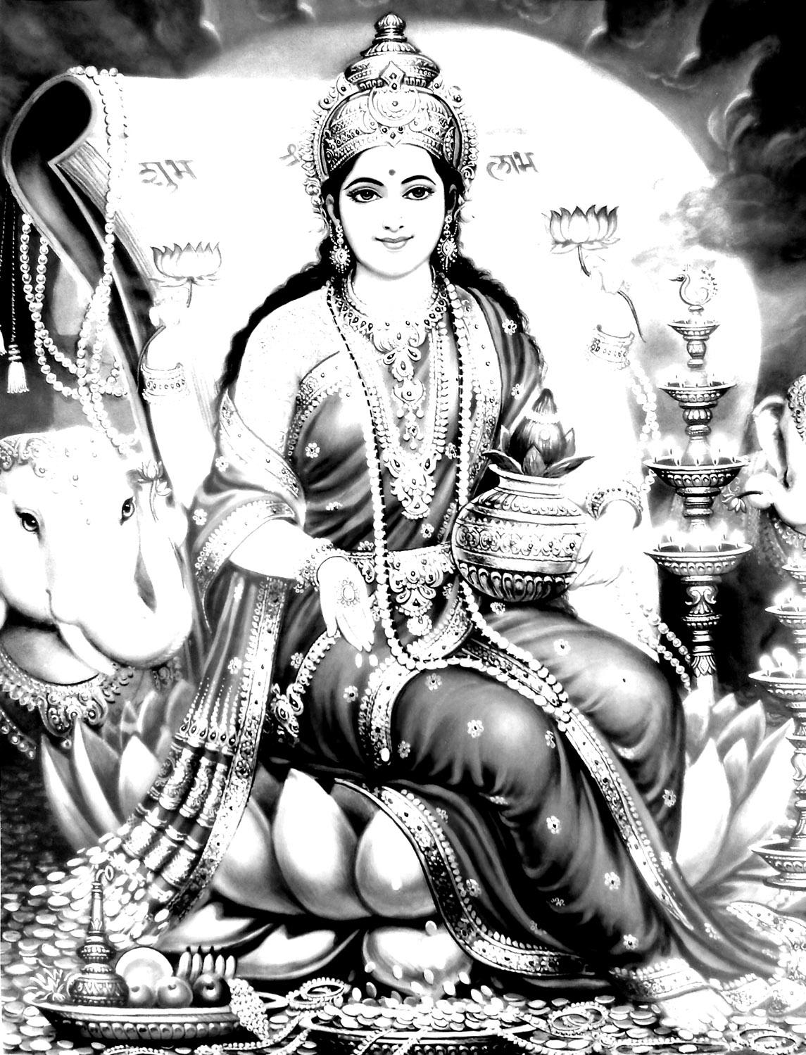 Coloriage style hindou avec nuances de Gris et nombreux détails