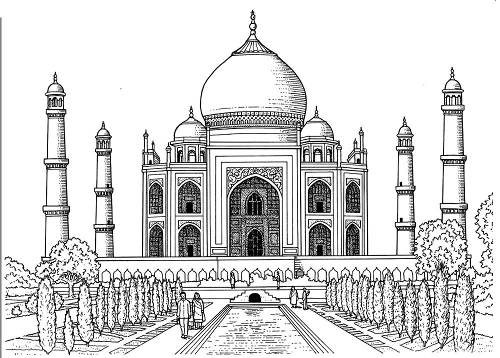 Coloriage avec nombreux détails du Taj Mahal, le 'palais de la Couronne', achevé en 1648