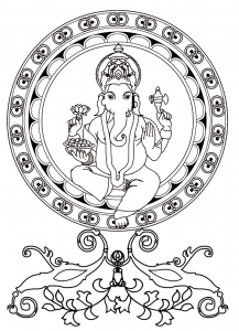 Coloriage adulte ganesh