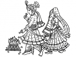 Coloriage adulte mariage indien