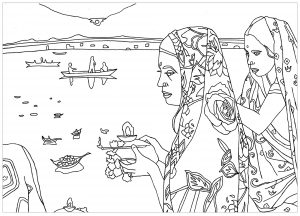 coloriage-adulte-rite-puja-inde free to print