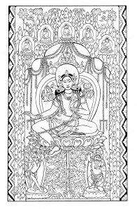 coloriage-adulte-tapisserie-sur-soie-green-tara-debut-1200-asie-centrale free to print