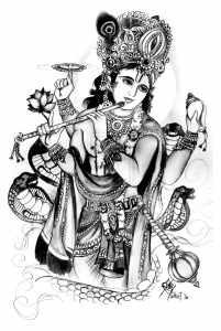 Coloriage adulte vishnu