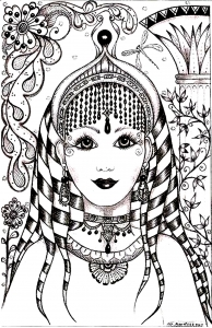 coloriage-visage-inspiration-inde free to print