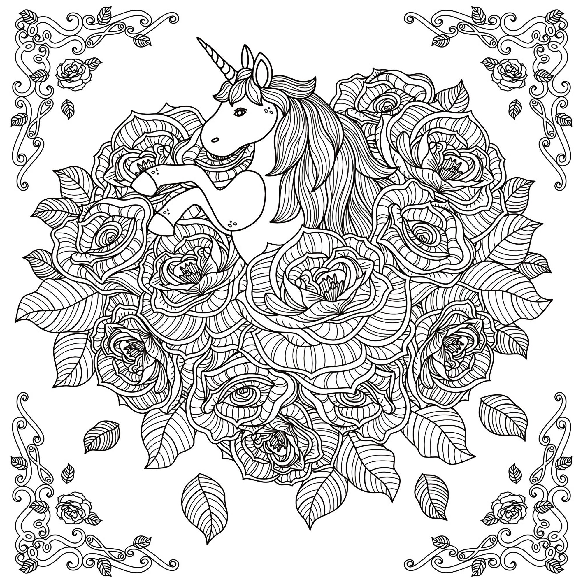 Licorne calendrier de l 39 avent de no l 2016 coloriages - Coloriage mandala cheval ...
