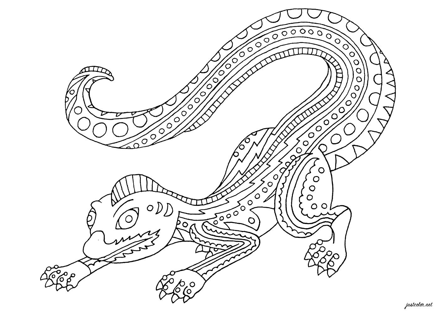 Majestueux lézard inspiré des statues Alebrijes (sculptures d'art folklorique mexicain)