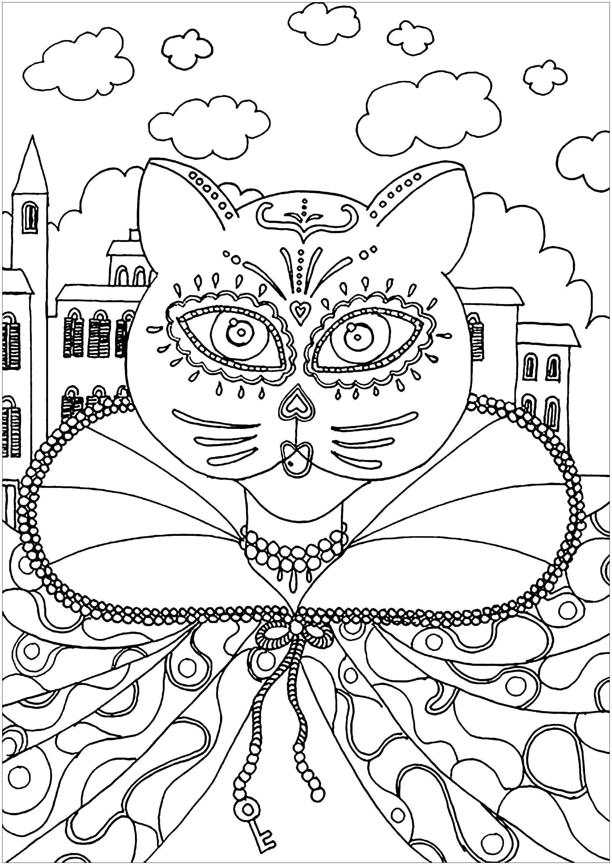 Un joli chat déguisé et maquillé pour le Carnaval