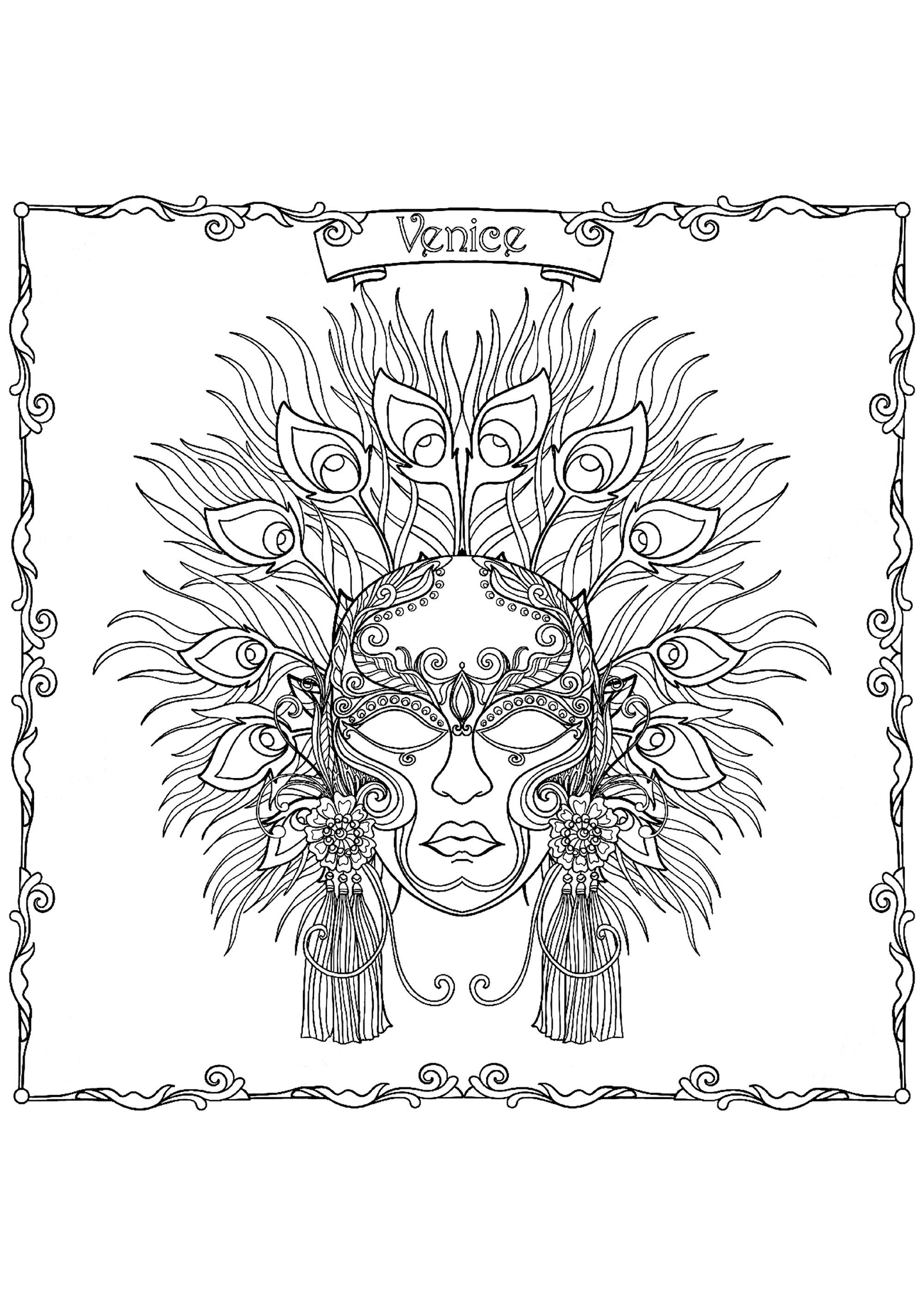 Masque du Carnaval de Venise - Carnaval - Coloriages difficiles pour adultes
