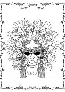 Masque à plumes du Carnaval de Venise