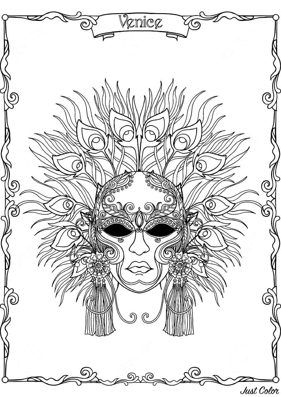 Masque A Plumes Du Carnaval De Venise Carnaval Coloriages