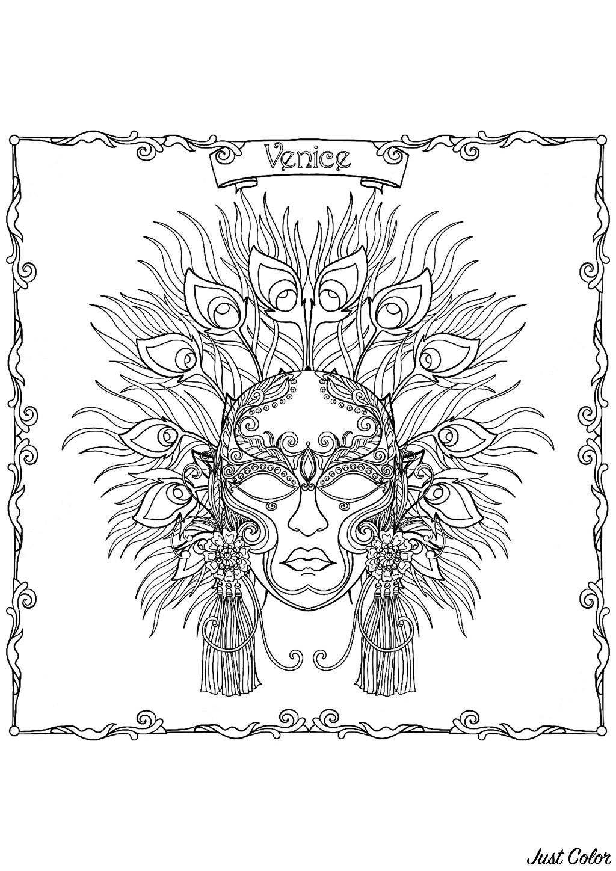 Masque Du Carnaval De Venise Carnaval Coloriages Difficiles Pour