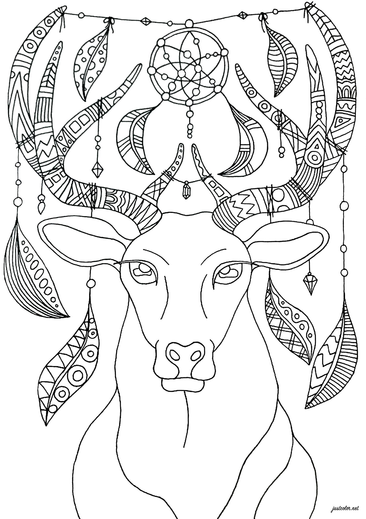 Coloriez ce cerf au ornements bohèmes et relaxants - version simple