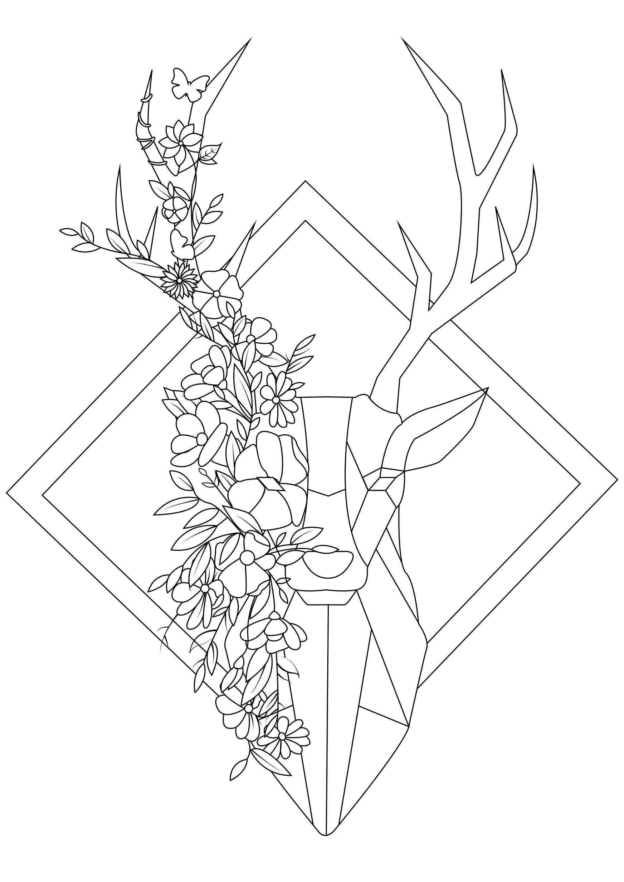 Ce coloriage géométrique inspiré du style origami va être un réel plaisir à colorier