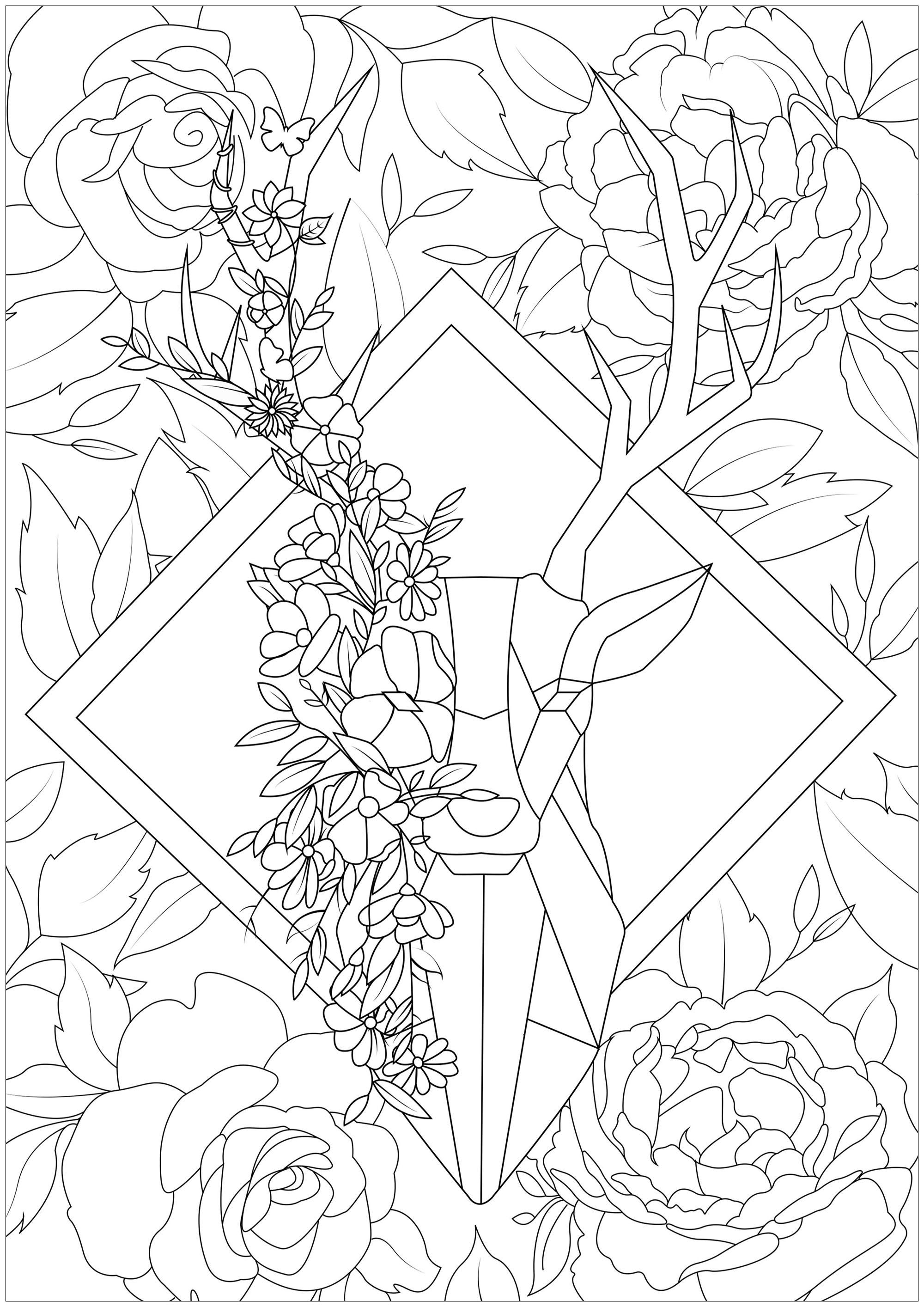 Ce magnifique cerf dessiné avec des formes géométriques semble sortir tout droit d'une forêt pleine de fleurs