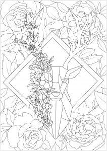 Tête de cerf sur fond fleuri