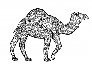 Coloriage chameau zentangle