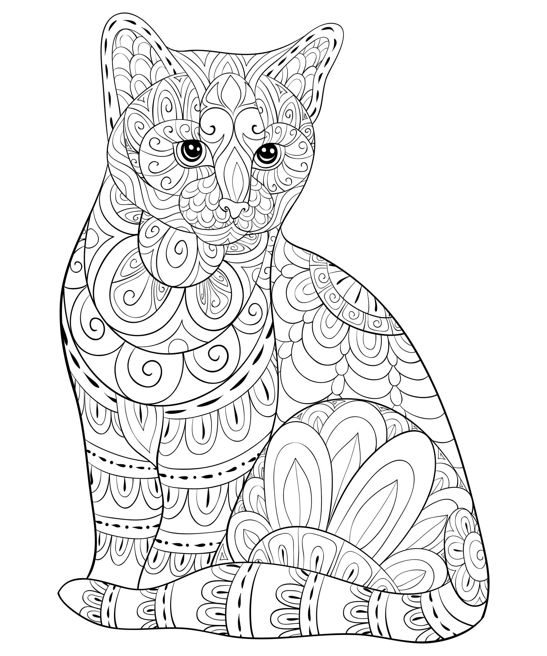Chat réaliste avec motifs Zentangle - Chats - Coloriages ...
