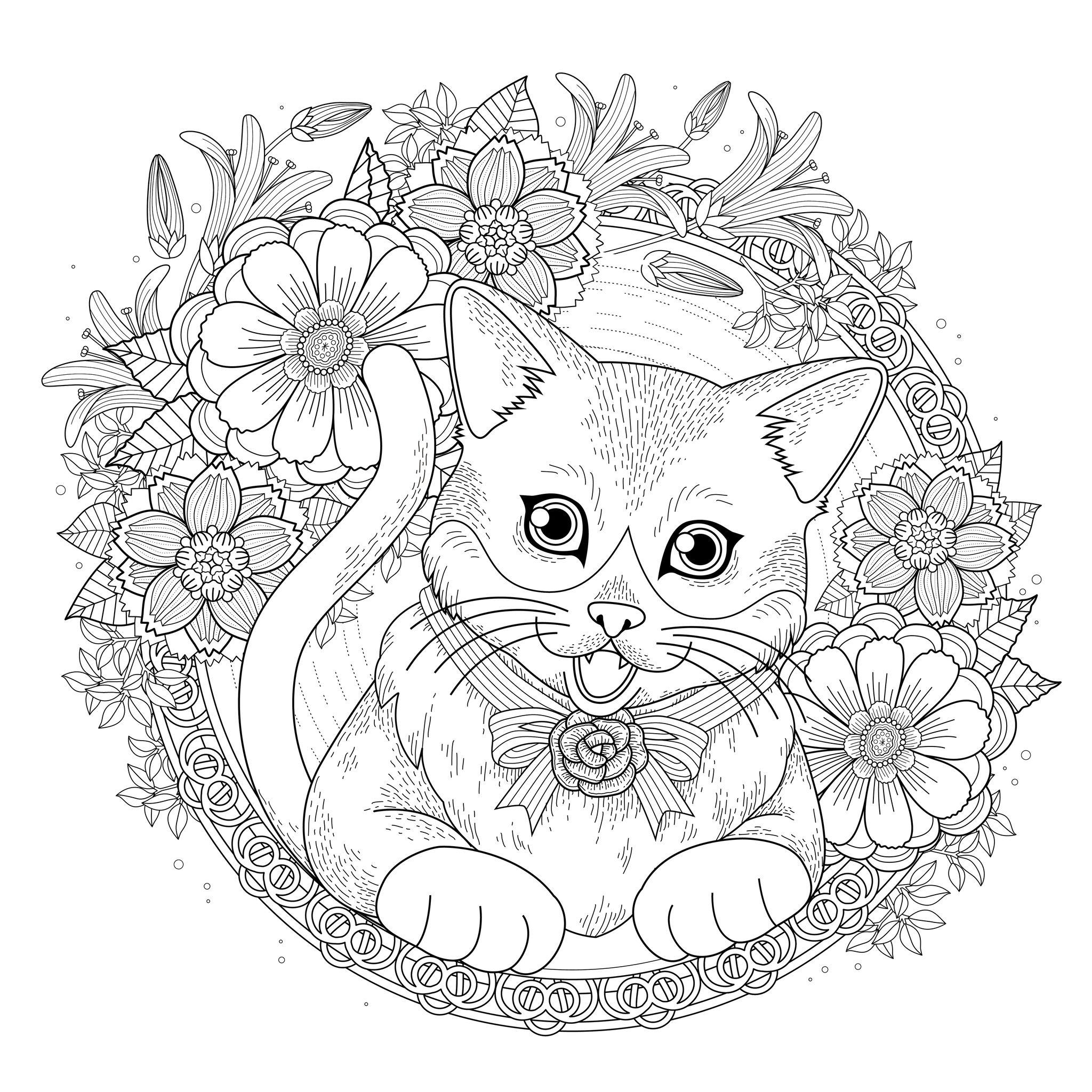 Chat entouré de fleurs - Chats - Coloriages difficiles pour adultes