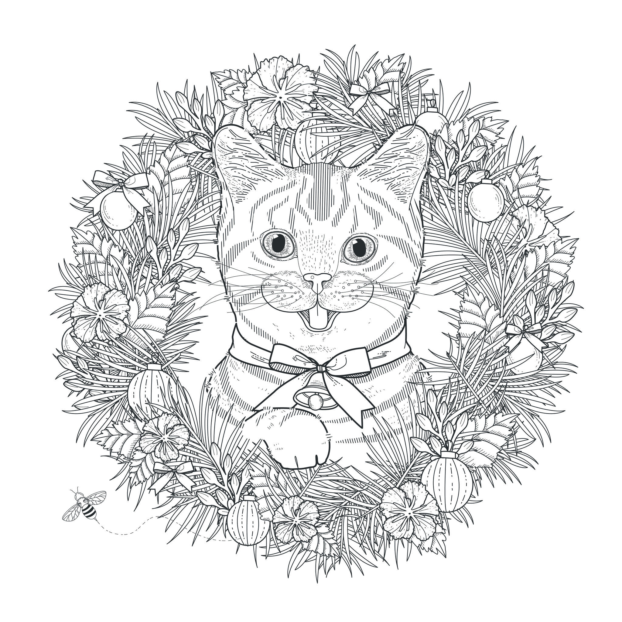 Chat mignon chats coloriages difficiles pour adultes - Coloriage adulte difficile ...