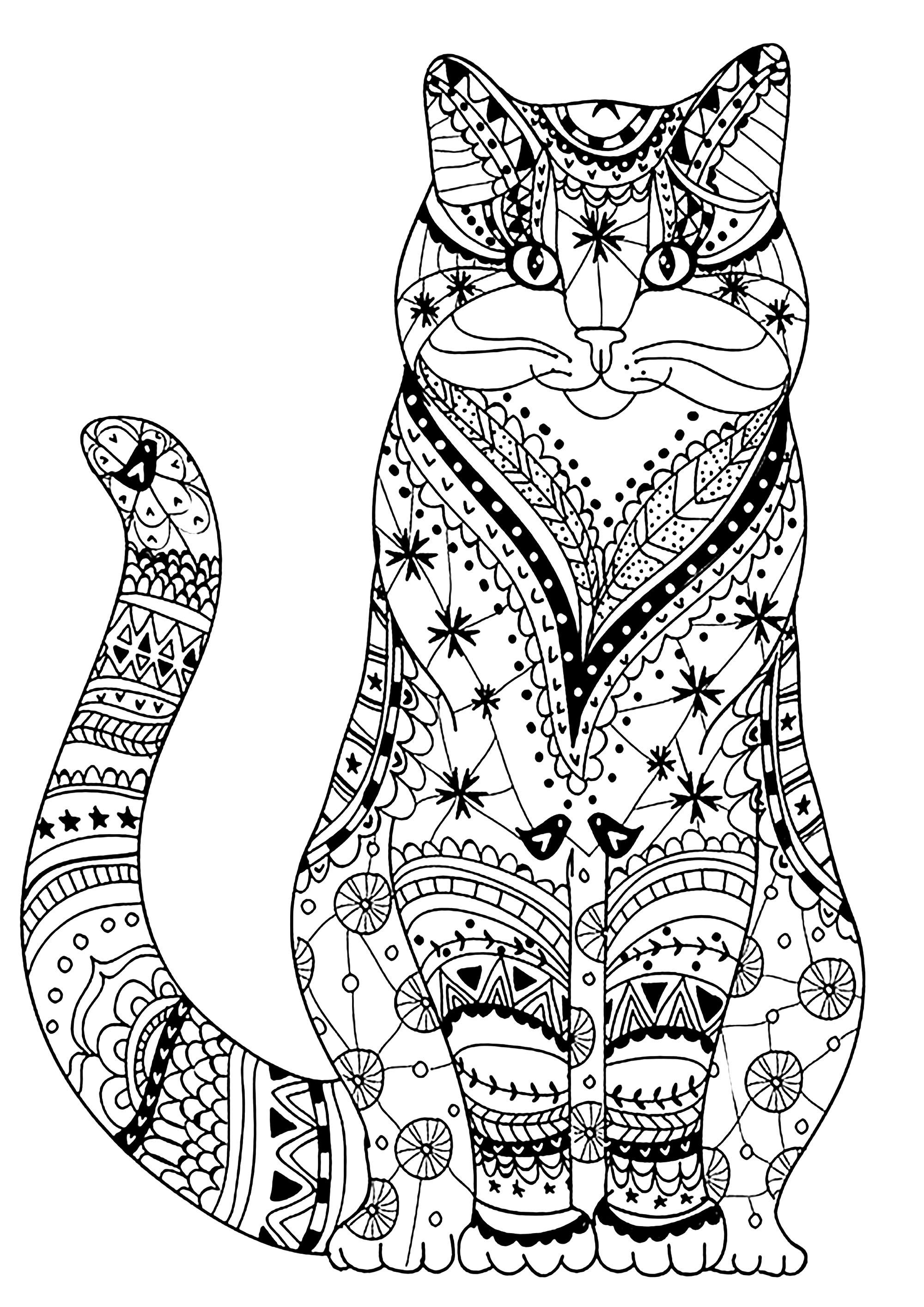 Superbe chat dessiné avec des motifs Zentangle