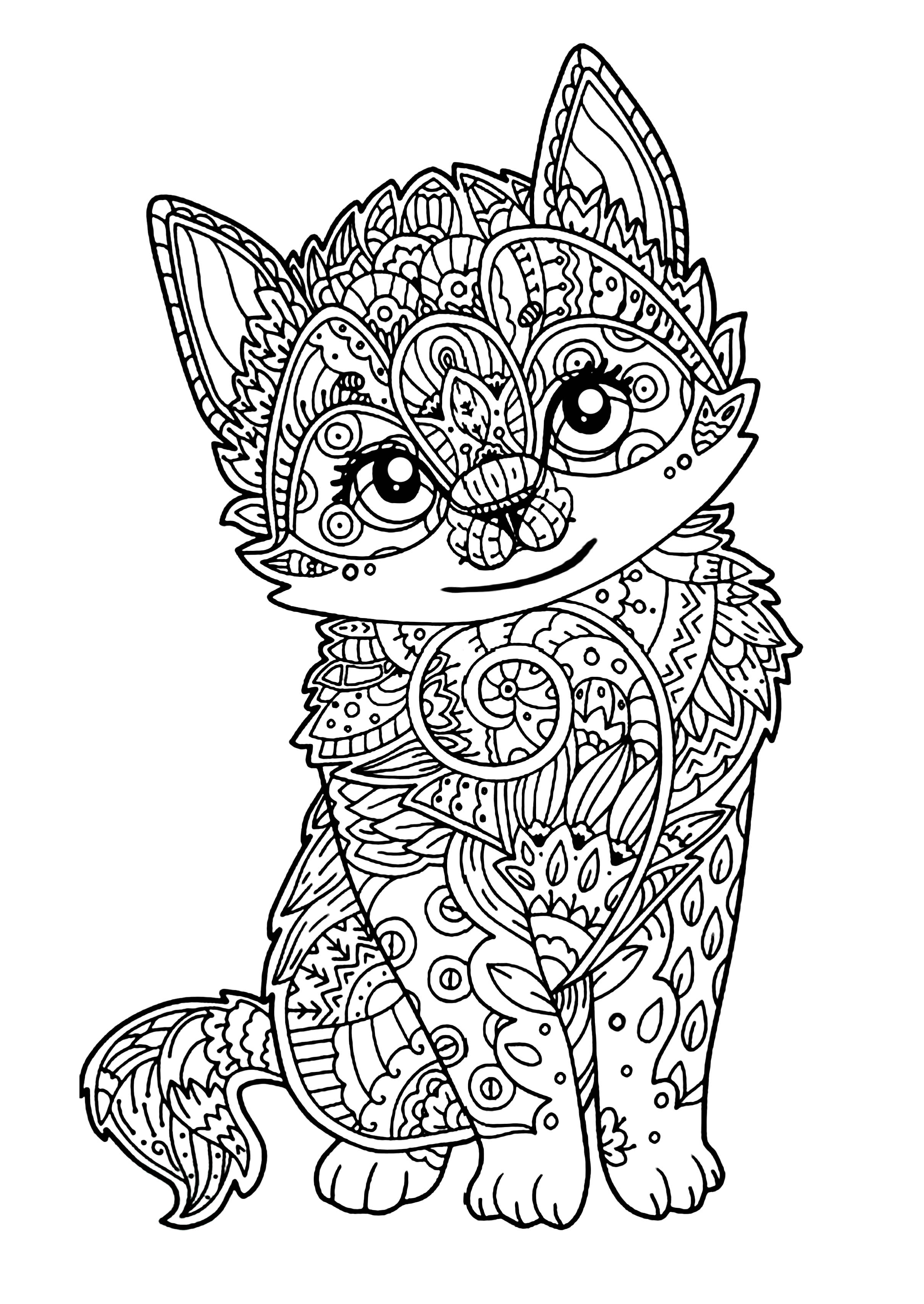 Mignon chaton chats coloriages difficiles pour adultes - Tete de chat a colorier ...
