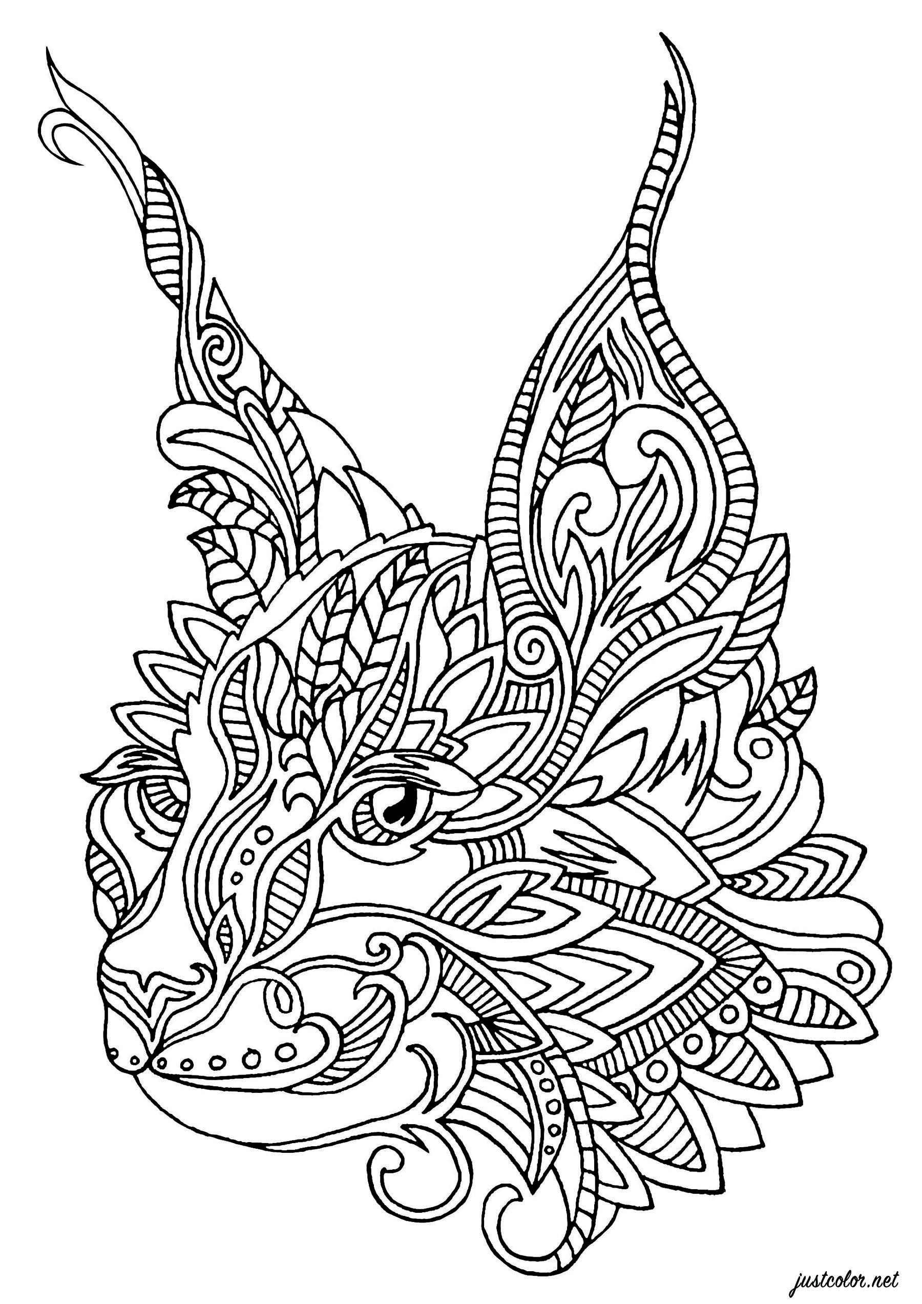Coloriez cette tête de chat dessinée avec des motifs Zentangle