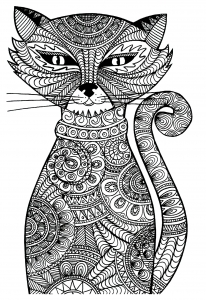 Coloriage adulte animaux chat malicieux