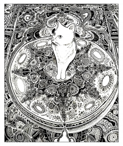 Coloriage adulte animaux chat tapis