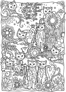 Coloriage adulte animaux plein chats