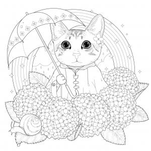 Coloriage adulte chat arc en ciel et mandala par kchung