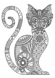 Coloriage chat elegant et motifs complexes