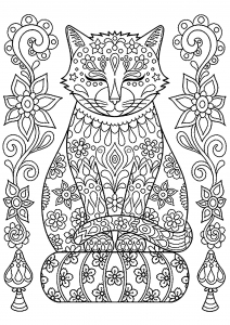 Coloriage Yeux Chat.Chats Coloriages Difficiles Pour Adultes