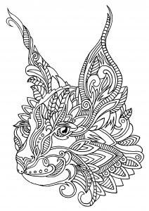 Tête de chat avec motifs Zentangle