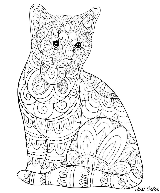 Superbe dessin de chat à colorier, avec motifs Zentangle simples.